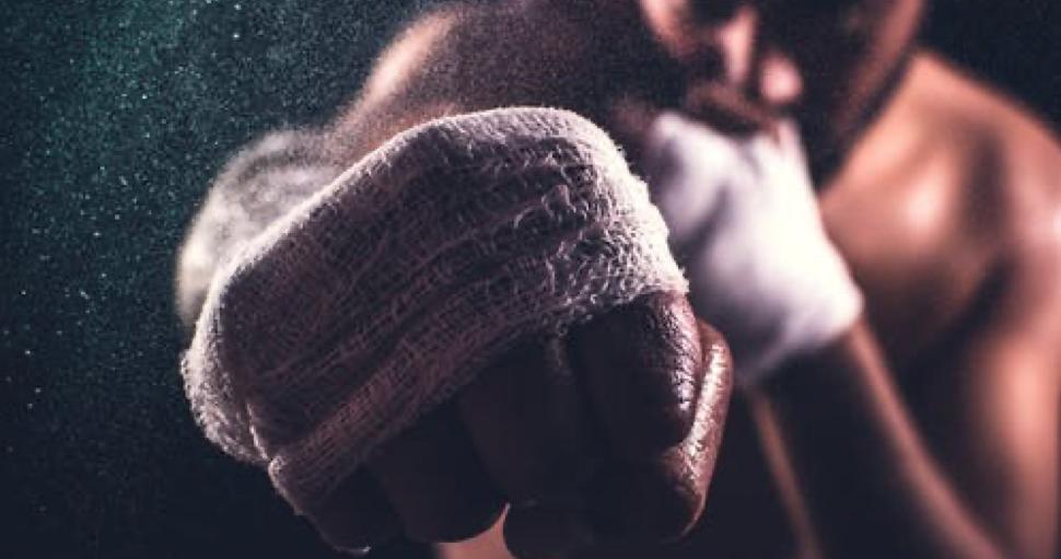 Punching boxer